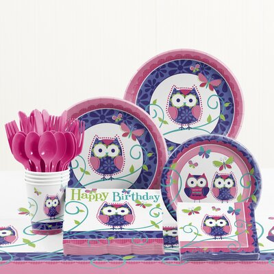 81 Piece Owl Pal Birthday Birthday Paper/Plastic Tableware Set DTC5642C2A