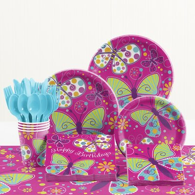 81 Piece Butterfly Sparkle Birthday Paper/Plastic Tableware Set DTC5691C2A