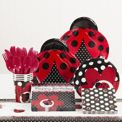 81 Piece Ladybug Fancy Birthday Paper/Plastic Tableware Set DTC5019C2A