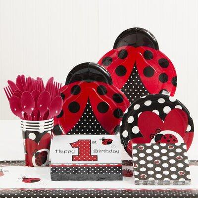 81 Piece Ladybug Fancy 1st Birthday Paper/Plastic Tableware Set DTC5019C2B