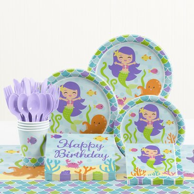 81 Piece Mermaid Friends Birthday Paper/Plastic Tableware Set DTC1766E2A
