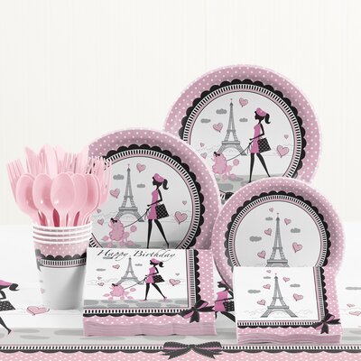 81 Piece Party in Paris Birthday Paper/Plastic Tableware Set DTC5584C2A