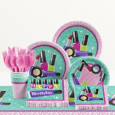 81 Piece Sparkle Spa Party Birthday Paper/Plastic Tableware Set DTC1767E2A