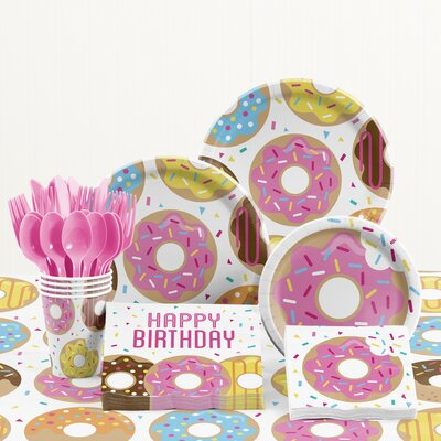 81 Piece Donut Time Birthday Paper/Plastic Tableware Set DTC2569E2A