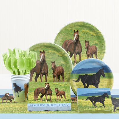 81 Piece Wild Horses Birthday Paper/Plastic Tableware Set DTC5804C2A