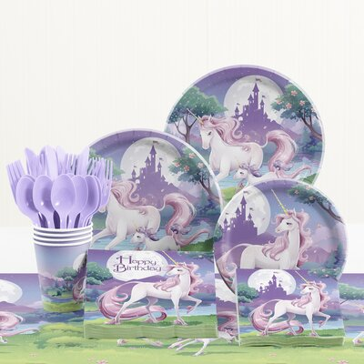 81 Piece Unicorn Fantasy Birthday Paper/Plastic Tableware Set DTC5603C2A