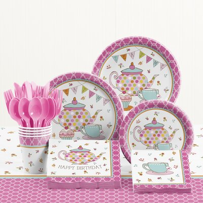 81 Piece Tea Time Birthday Paper/Plastic Tableware Set DTC5673C2A