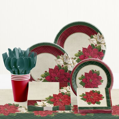 Plaid Poinsettia Paper and Plastic Tableware Kit DTC2601E2A