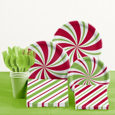 Peppermint Party Paper and Plastic Tableware Kit DTC2610E2A