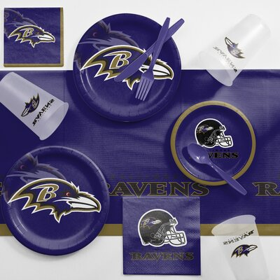 NFL Game Day Party Supplies 81 Piece Dinner Plate Set NFL: Baltimore Ravens DTC9503C2A