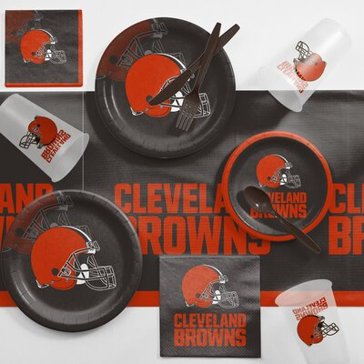 NFL Game Day Party Supplies 81 Piece Dinner Plate Set NFL: Cleveland Browns DTC9508C2A