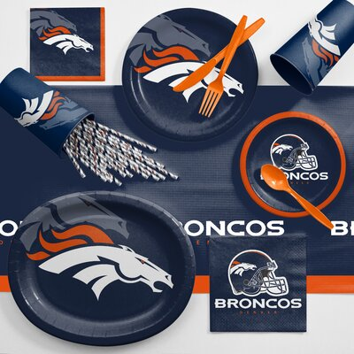 NFL Ultimate Fan Party Supplies 113 Piece Dinner Plate Set NFL: Denver Broncos DTC9510C2C
