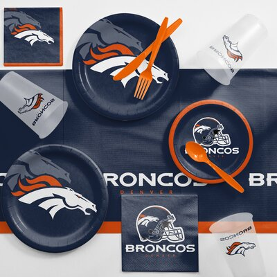 NFL Game Day Party Supplies 81 Piece Dinner Plate Set NFL: Denver Broncos DTC9510C2A
