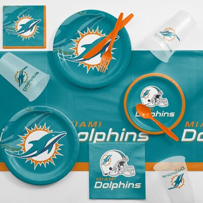 NFL Game Day Party Supplies 81 Piece Dinner Plate Set NFL: Miami Dolphins DTC9517C2A