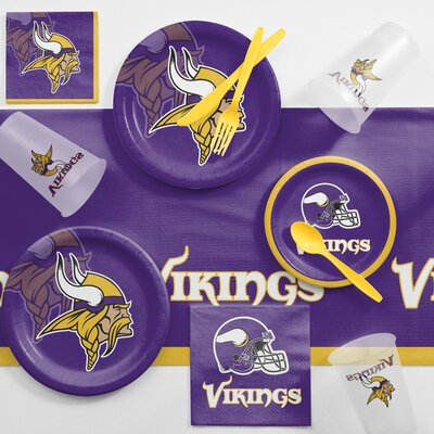 NFL Game Day Party Supplies 81 Piece Dinner Plate Set NFL: Minnesota Vikings DTC9518C2A