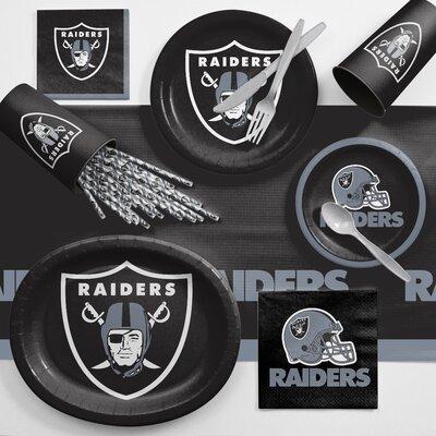 NFL Ultimate Fan Party Supplies 113 Piece Dinner Plate Set NFL: Oakland Raiders DTC9523C2C