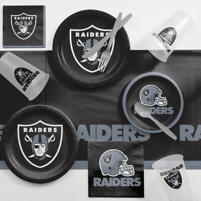 NFL Game Day Party Supplies 81 Piece Dinner Plate Set NFL: Oakland Raiders DTC9523C2A
