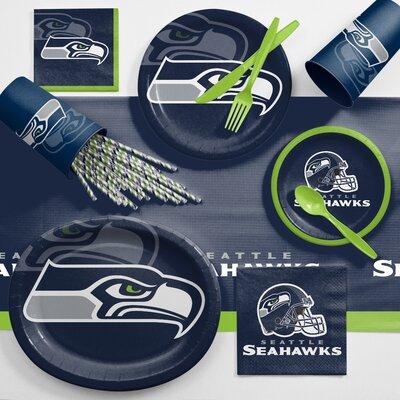 NFL Ultimate Fan Party Supplies 113 Piece Dinner Plate Set NFL: Seattle Seahawks DTC9528C2C