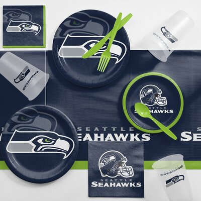 NFL Game Day Party Supplies 81 Piece Dinner Plate Set NFL: Seattle Seahawks DTC9528C2A