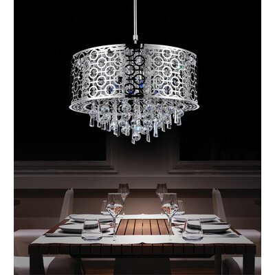 6-Light Crystal Drum Pendant Size: 60 H x 23 W x 23 D