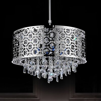 6-Light Crystal Drum Pendant Size: 60
