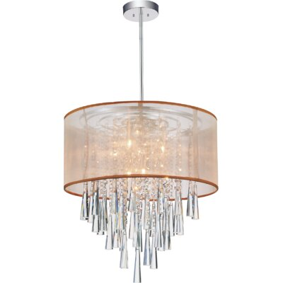 6-Light Drum Pendant Shade Color: Gold