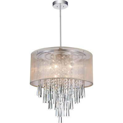 8-Light Drum Pendant Shade Color: Beige