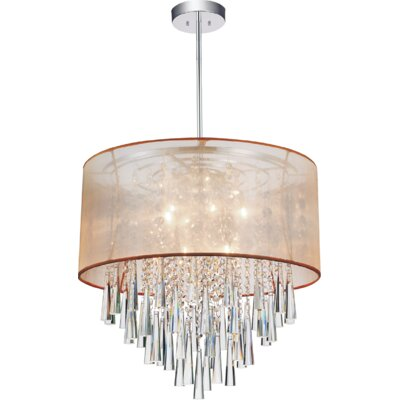 8-Light Drum Pendant Shade Color: Gold