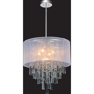 8-Light Drum Pendant Shade Color: Off White