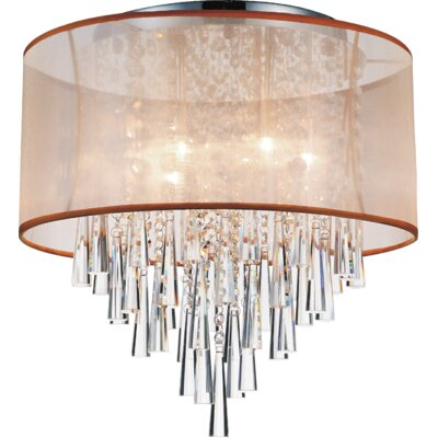 6-Light Flush Mount Shade Color: Gold