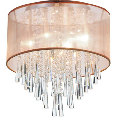 8-Light Flush Mount Shade Color: Gold