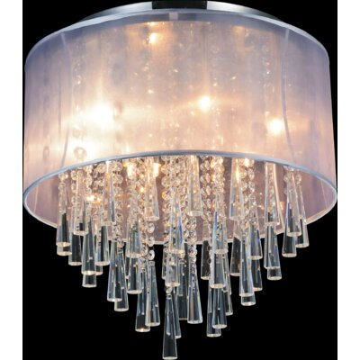 8-Light Flush Mount Shade Color: Silver