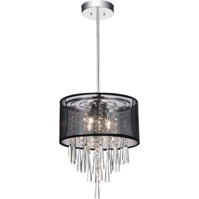 4-Light Drum Pendant Shade Color: Black