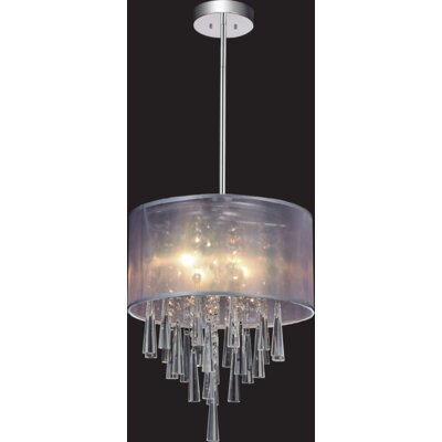 4-Light Drum Pendant Shade Color: Silver