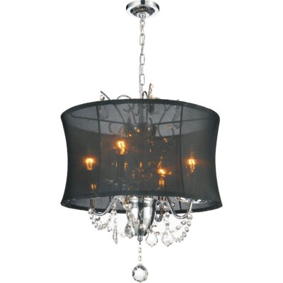 4-Light Shaded Chandelier Shade Color: Black
