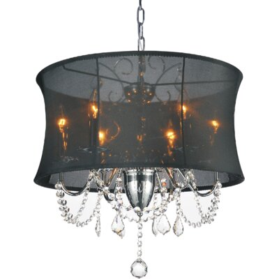 6-Light Shaded Chandelier Shade Color: Black