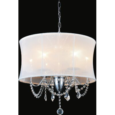 6-Light Shaded Chandelier Shade Color: White