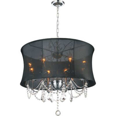 8-Light Shaded Chandelier Shade Color: Black