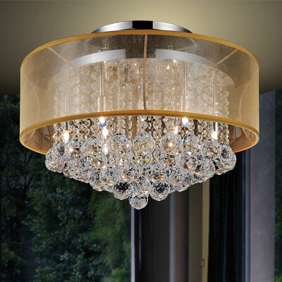 6-Light Semi Flush Mount Shade Color: Clear Gold
