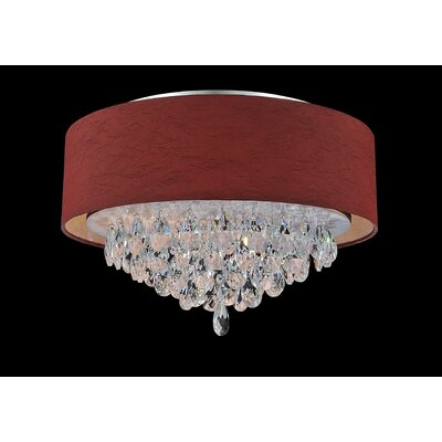 Dash 4-Light Flush Mount Shade Color: Wine Red