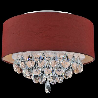 Dash 3-Light Flush Mount Shade Color: Wine Red