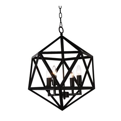 Amazon 4-Light Foyer Pendant Finish: Black