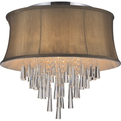 Audrey 6-Light Flush Mount Shade Color: Brown