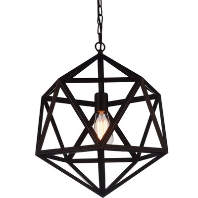 Dia 1-Light Pendant Finish: Black, Size: 92 H x 17 W x 17 D