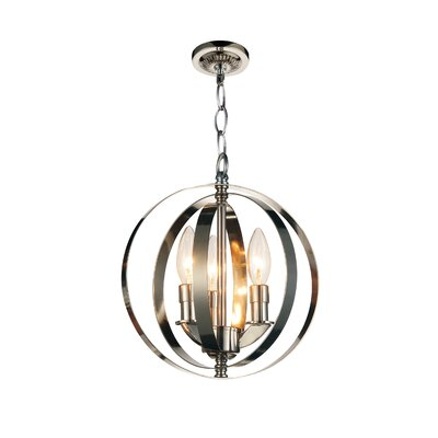 Delroy 3-Light Globe Pendant Finish: Chrome