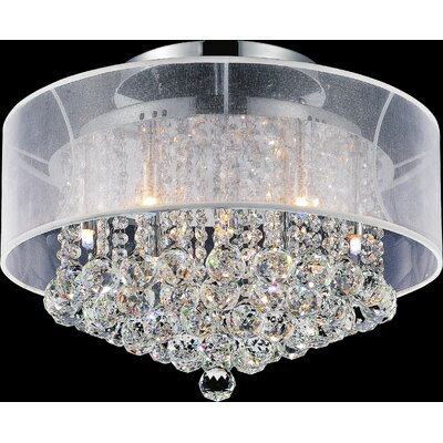 9-Light Semi Flush Mount Shade Color: Clear White