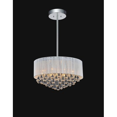 Water Drop 9-Light Drum Pendant Shade Color: White