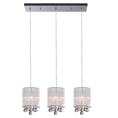 Water Drop 3-Light Kitchen Island Pendant Shade Color: Silver