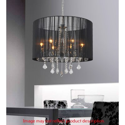6-Light Drum Pendant Shade Color: Black
