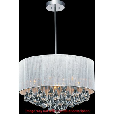 Water Drop 6-Light Drum Pendant Shade Color: White